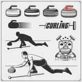 Set of curling labels, emblems and design elements. Vector royalty free illustration