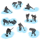 Set of curling player grunge silhouettes Royalty Free Stock Image