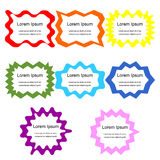 Set of Curly Frames. Colorful Templates for Visiting Cards, Labels, Fliers, Banners, Badges, Posters, Stickers and Advertising Act. Ions. Abstract Background Stock Images