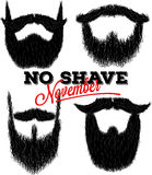 Set of curly hipster beards for No Shave November Royalty Free Stock Photos
