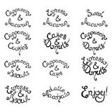 Set 1 of curly lettering Phrases for Coffee Shop. Vector illustration. Set 1 of curly hand-drawn lettering Phrases for Coffee Shop. Espresso Cappuccino Cakes Royalty Free Stock Photography