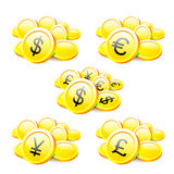 Set of currencies coins Royalty Free Stock Images