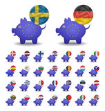 Set currencies flags and piggy bank europe Royalty Free Stock Photo