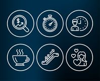 Currency audit, Escalator and Working hours icons. Coffee, Timer and Love signs. Set of Currency audit, Escalator and Working hours icons. Coffee, Timer and Stock Photography