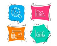 Currency audit, Payment method and Investment graph icons. Infographic graph sign. Set of Currency audit, Payment method and Investment graph icons. Infographic Royalty Free Stock Photo