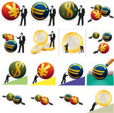 Set of currency and business-related pictures. Set of a currency and business-related pictures stock illustration