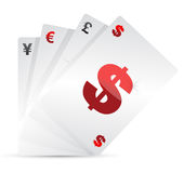 Set of currency cards. Illustration design over white background Royalty Free Stock Photography