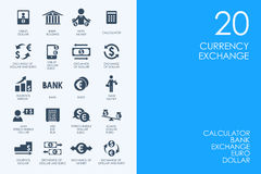 Set of currency exchange icons Stock Photography