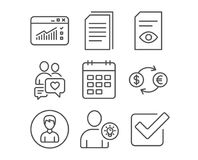 Currency exchange, User idea and Web traffic icons. Calendar, View document and Copy files signs. Set of Currency exchange, User idea and Web traffic icons Royalty Free Stock Photo