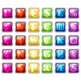 Set of currency symbols in colorful tile blocks Stock Images