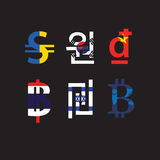 Set of currency symbols with flag Stock Images