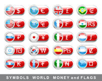 Set currency symbols and flags. Set International currency symbols and flags Royalty Free Stock Images