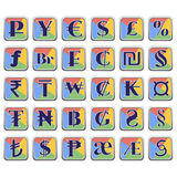 Set of currency symbols in flat colorful blocks Royalty Free Stock Photo