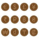Currency symbols icons simple brown-colored wooden set. A set of currency symbols used in different countries, wooden brown-colored Royalty Free Stock Photography