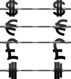 Set of currency weights Stock Photos