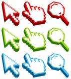 Set Cursor Icons Three-Dimensional Red Green Blue royalty free illustration