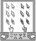 Set Cursors icons: arrow,  spear, pen, hand, hourg Stock Photos