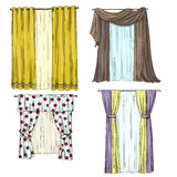 Set of curtains. interior details. Cartoon style.  Royalty Free Stock Photo