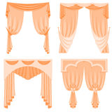 A set of curtains isolated on white background. Vector illustration. Stock Images