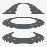 Set of curved asphalt road in perspective. Highway icons. Stock Photos