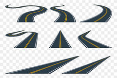 Set of curved asphalt road in perspective. Highway icons. Royalty Free Stock Image