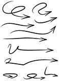 Set of curved, hand drawn marker scribble direction arrows Stock Photo