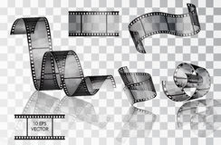 Set of curved photographic film Royalty Free Stock Image