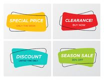 Set of curved soft shaped rectangle sale tags. Collection of modern sale banner in creative form. Bright colors shop clearance label with market promotion title stock illustration
