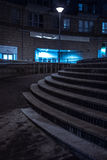 Set of curved urban steps at night Royalty Free Stock Image