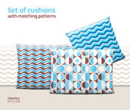 Set of cushions and pillows with matching seamless patterns Royalty Free Stock Photo
