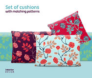 Set of cushions and pillows with matching seamless patterns Royalty Free Stock Image