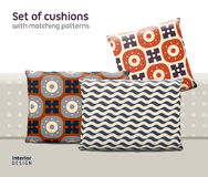 Set of cushions and pillows with matching seamless patterns Royalty Free Stock Photos