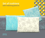 Set of cushions and pillows with matching seamless patterns Stock Photos