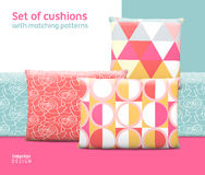 Set of cushions and pillows with matching seamless patterns Royalty Free Stock Photography