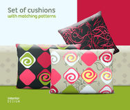 Set of cushions and pillows with matching seamless patterns Stock Image