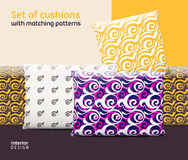 Set of cushions and pillows with matching seamless patterns Royalty Free Stock Images
