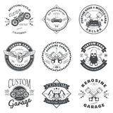 Set of Custom Car and Bike Garage Label and Badge Design Vector Royalty Free Stock Photo