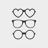 Set of custom glasses icons. Modern fashion glasses in flat style. Hipster sunglasses isolated on gray background Stock Image