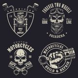 Set of custom motorcycle emblems Royalty Free Stock Photography