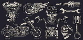 Set of custom motorcycle emblems Stock Images