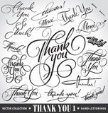 Set of custom THANK YOU hand lettering (vector) Royalty Free Stock Images