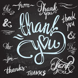 Set of custom THANK YOU hand lettering Royalty Free Stock Image