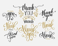Set of custom THANK YOU hand lettering. Vector