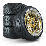Set of custom wheels, chromed rims Royalty Free Stock Photos