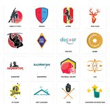 Set of customer satisfaction, tribe, 70 years, football helmet, gangster, doctor, , horse, dance studio icons. Set Of 16 simple  icons such as customer Royalty Free Stock Image