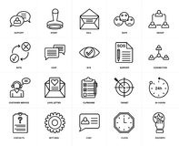 Set of  Customer service, Favorite, Clock, Settings, 24 hours, Clipboard, Rate, Support, Chat, Group icons. Set Of 20 icons such as Favorite, Clock, Chat Royalty Free Stock Photo