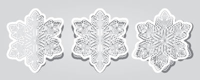 Set the cut and bent at different angles snowflakes. In vector design Vector Illustration