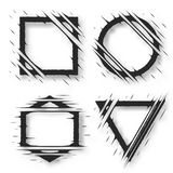 Set of cut geometric shapes. Strokes ripped effect. Shapes to for rip, slash, damage, torn effects. Vector illustration Stock Photo