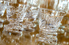 Set of cut glass cups Royalty Free Stock Images