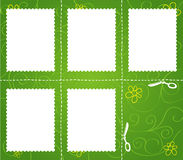 Set of cut marks on green background. A set of cut marks on green floral background. Fully layered Stock Photo